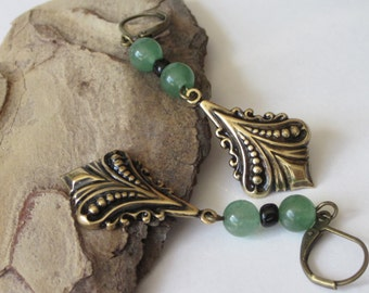 Green Aventurine Earrings, Gemstone,  Antiqued Gold and Black, Victorian Dangle, Brass and Stone, Antiqued Brass Leverback