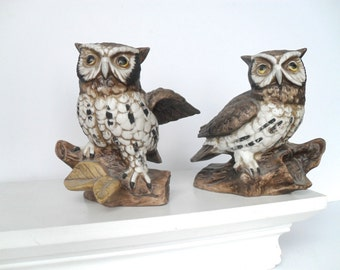 Pair of Vintage Owl Figures by Homco