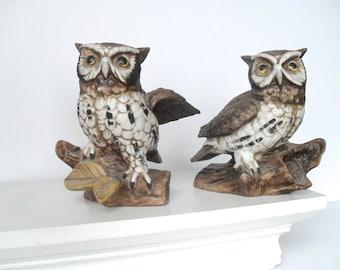 Pair of Vintage Owl Figures by Homco