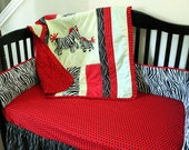 Zebra Mommy and Baby Crib Sheet Red With Black Dots Baby Bedding