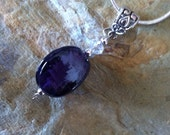 Purple Glass Bead Pendant comes with 17 inch snake chain (400)