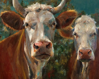 Cow Painting - Friends -  giclee print of an original painting on fine art paper by Cari Humphry