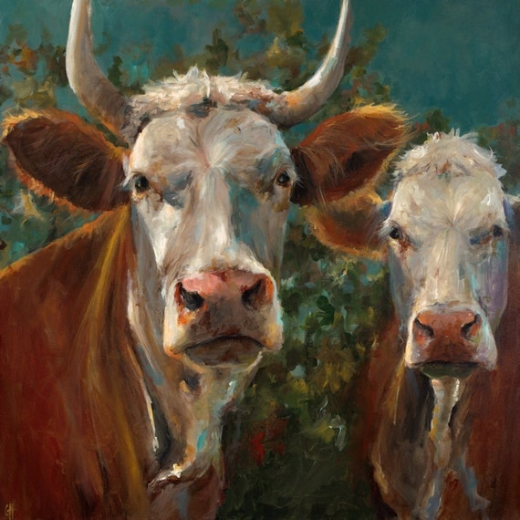 Cow painting friends giclee print of an original painting for Cow painting print