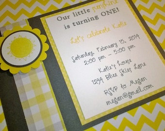 Sunshine Birthday or Baby Shower Invitations - Set of 8