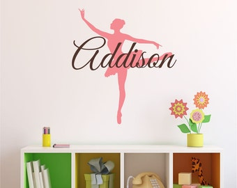 Personalized Ballerina Wall Decal- name wall decal, personalized, name decal, Ballerina Wall Decal, nursery wall decal, dance wall decal M1