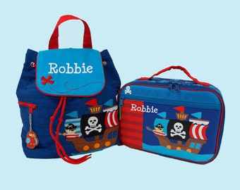 Personalized Stephen Joseph Quilte Backpack and Lunchbox PIRATE School Set