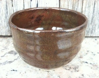 Tea Bowl Teacup or Chawan - glazed in saturated iron - one small bowl