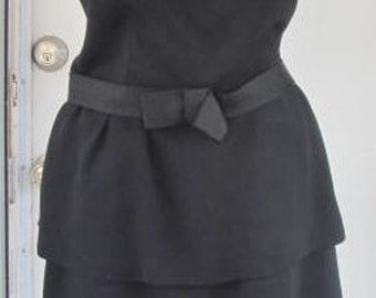 Vintage 1950s Bow Waist Wiggle Party Dress S 4 6
