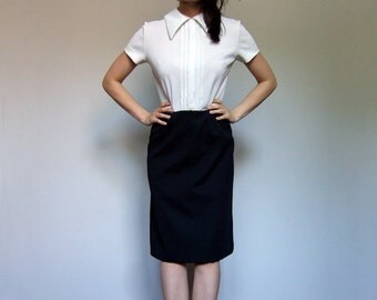 70s Black White Dress Minimalist Collared Dress Preppy Suit 2pc Fall Winter Dress - Extra Small XS S
