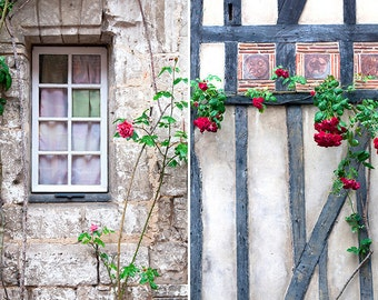 French Country Photography, Two Fine Art Travel Photographs of France, French Decor, Roses and Cottages, Large Wall Art