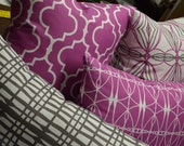 High End Modern Contemporary Print Designer Fabric Decorator Pillows in Orchid, Grey and White