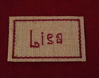 Embroidered Burlap Iron On Name Label for Christmas Stockings, Stocking Name Label, Christmas Label  FREE SHIPPING