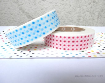 EXTRA LENGTH Set of 2 - Red and Blue Dots Washi - MT Kamoi Washi Masking Tape Dots 15mm x15m (  2 roll set )