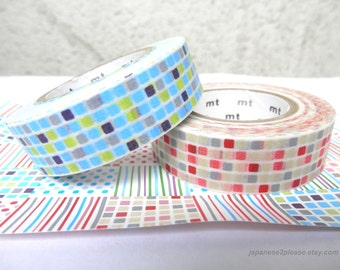 EXTRA LENGTH Set of 2 - Mt Washi Tape - Red Blue MT Washi Tiles Masking Tape 15mm x 15m ( 2 roll set)