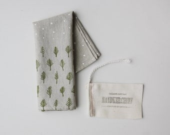 Organic Cotton Handkerchief - Trees & Stars