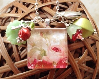 Romantic Roses Glass Tile Charm Cluster Necklace