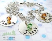SALES - Personalized Charm bracelet - Hand stamped jewelry - Family name bracelet - grandma bracelet - Mother charm jewelry