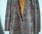 glam jacket grunge 80s 90s  boho metallic silver thread holiday dazzle night evening glitz