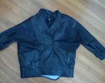 black leather jacket motorcycle flight boho jacket grunge punk Kristin P Fashions Corp made in Canada