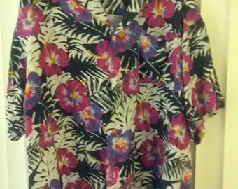 XL Hawaiian shirt skater tiki surfer flowers floral men boho hippie beach summer 90s Islander Saved by the Bell