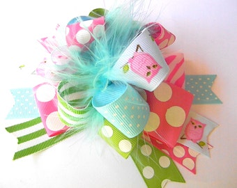 Owl Hair bows Over the top  - Pale blues, lime green,  Polka dots
