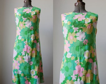 1970's Sherbert Splash Linen Dress • 1970's Flowered Linen Dress • Lily Pulitzer Style