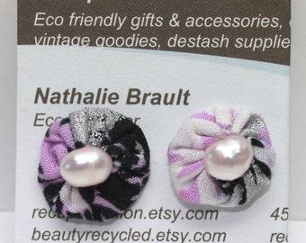 OOAK purple fresh water pearl yoyo ear post earrings pink cotton fabric lavender seed beads