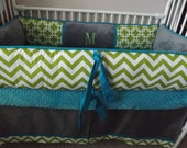 Baby bedding Crib set with TEal Lime and Gray Chevron DEPOSIT