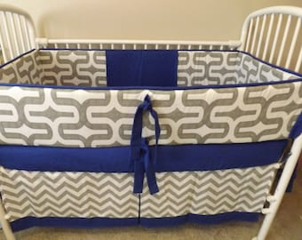 Gray and Electric Blue Modern Chevron  Custom Baby Bumper Pad Crib Set DEPOSIT DOWN PAYMENT Only