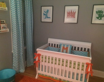 Modern Turquoise LIme Chevron  Orange Boys Custom Baby Bumper Pad Crib Set DEPOSIT Down payment ONLY read details