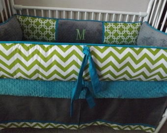 Baby bedding Crib set with TEal Lime and Gray Chevron DEPOSIT Down payment Only