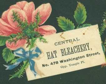 Antique Trade Card Ad Pink Black Floral Central Hat Bleachery Straw Felt Chip Leghorn Neapolitan Hats