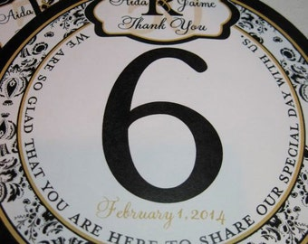 Black and Gold Damask Round Table Number Tags for Anniversary, Party and Weddings