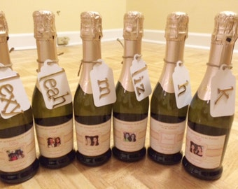 Personalized Bridesmaid Mini Champagne Labels - Chevron Bridesmaid Gifts -Will you be my Bridesmaid Labels - 8 Labels or your quantity