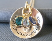 Hand Stamped Mommy Jewelry - Personalized Gold Tone Necklace - Family Cup of Love with Birthstones - Custom Engraved Jewelry