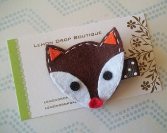 Felt Hair Clip-Brown and White Fox Hair Clippie-No Slip-FREE SHIPPING on 25 dollar orders