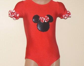 Short Sleeve Leotard with Minnie Mouse Applique. Gymnastics Leotard. Dance Leotard. Performance Leotard. Dancewear.  SIZES 2T - Girls 12