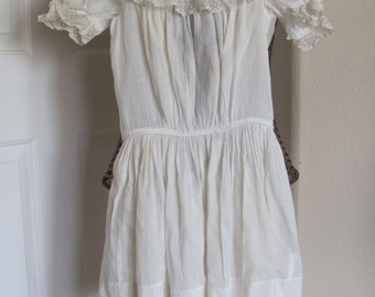 Antique Victorian White Girls Dress Sheer Cotton Lace