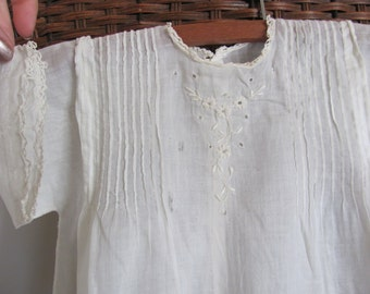 Antique Victorian White  Baby Christening Gown Dress Cotton