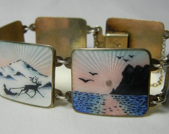 Ivar Holt Holth Norway Silver 925 S Guilloche Enamel Scenic Bracelet Norwegian