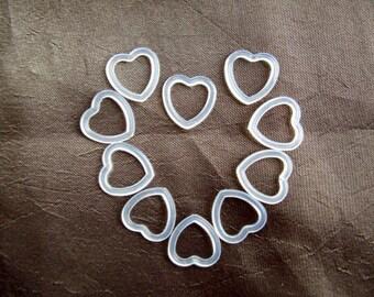 100 pcs. Heart Shape Plastic Rings,Heart Meterial, DIY Project, Craft Supplies