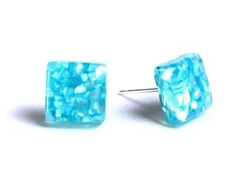 Flat rate shipping earrings - Petite blue square resin shell post stud earrings - Geometric Jewelry (671)