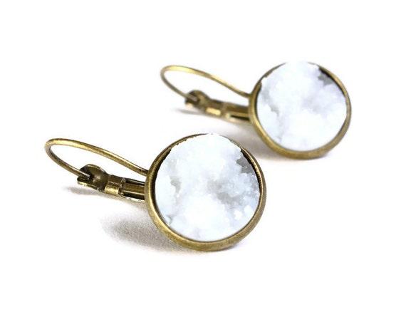 Antique brass white dangle drop earrings - Faux Druzy earrings -  Lead free Nickel free earrings (746) earrings