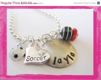 Personalized Soccer Jewelry - Hand Stamped Soccer Necklace - I LOVE SOCCER #S59