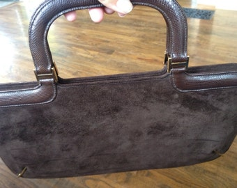 Chocolate brown suede purse by Saks