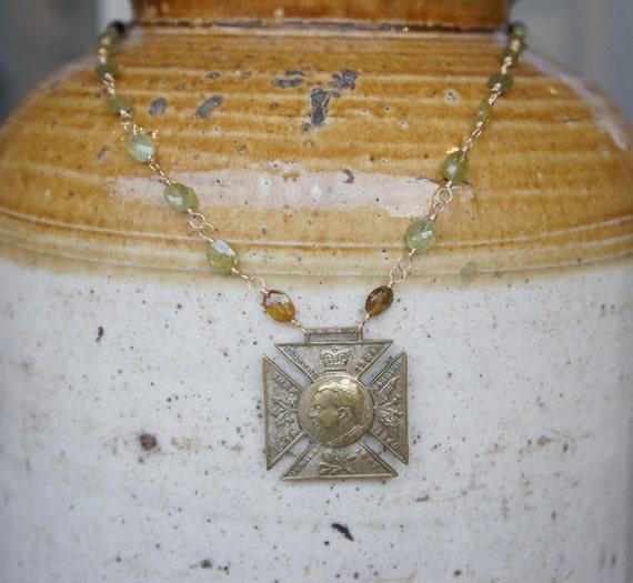 Antique Assemblage Queen Victoria Maltese Cross and Grossular Garnet Necklace