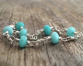 Blue Aqua Jade Bracelet, Sterling Silver Bangle, Chain Linked, Handmade Womens Jewelry
