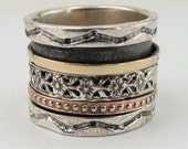GIFT! Fabulous 925 Sterling Silver & Gold Swivel Band / Ring size 8.5 (d r1070