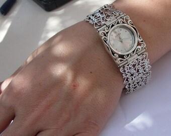 NEW Israel Original Handmade Fine Silver Filigree Bracelet Watch, Bracelet Watch, 925 silver Watch, (s w3289)