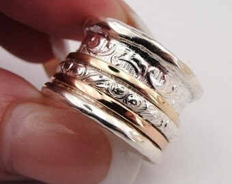 Breathtaking New Design Sterling Silver and 9K Gold filigree band size 8 (d